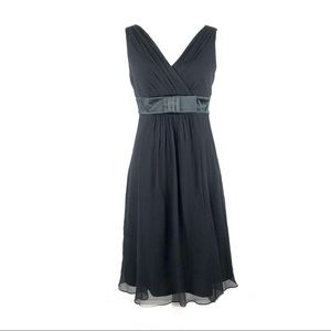 Ann Taylor evening dress sheer pleated faux wrap